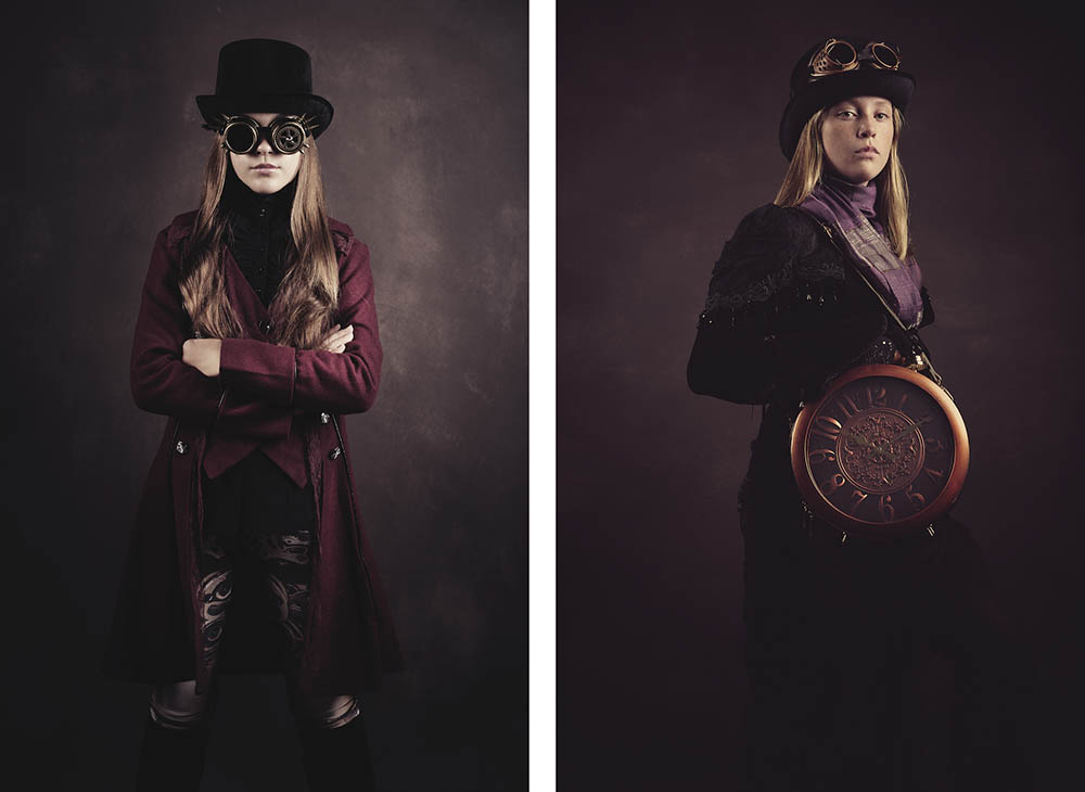 Steampunk photography with steampunk clock