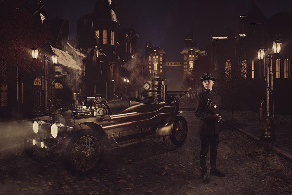 Steampunk car in street single 01