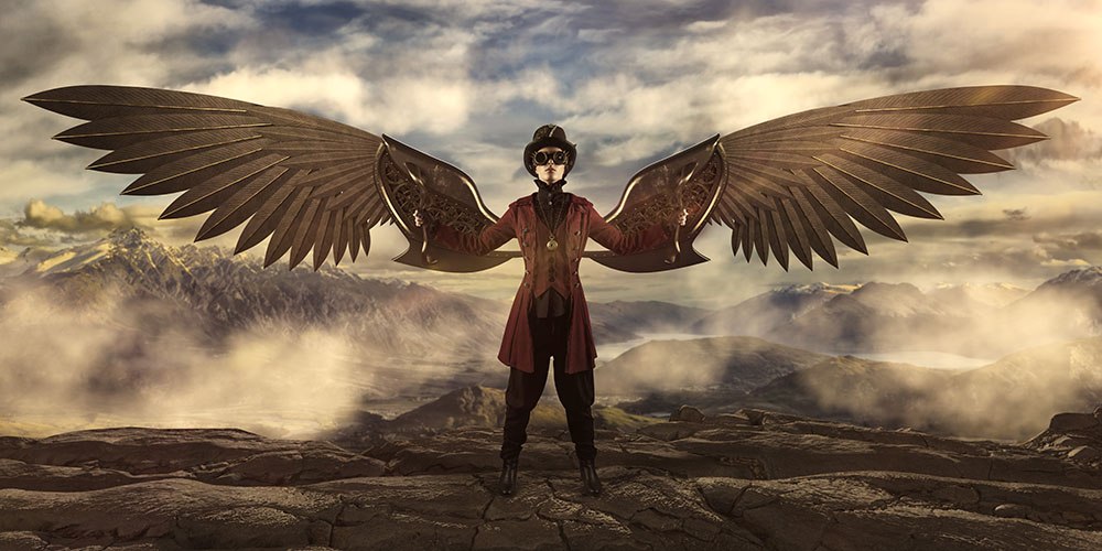 Steampunk wings gold 1