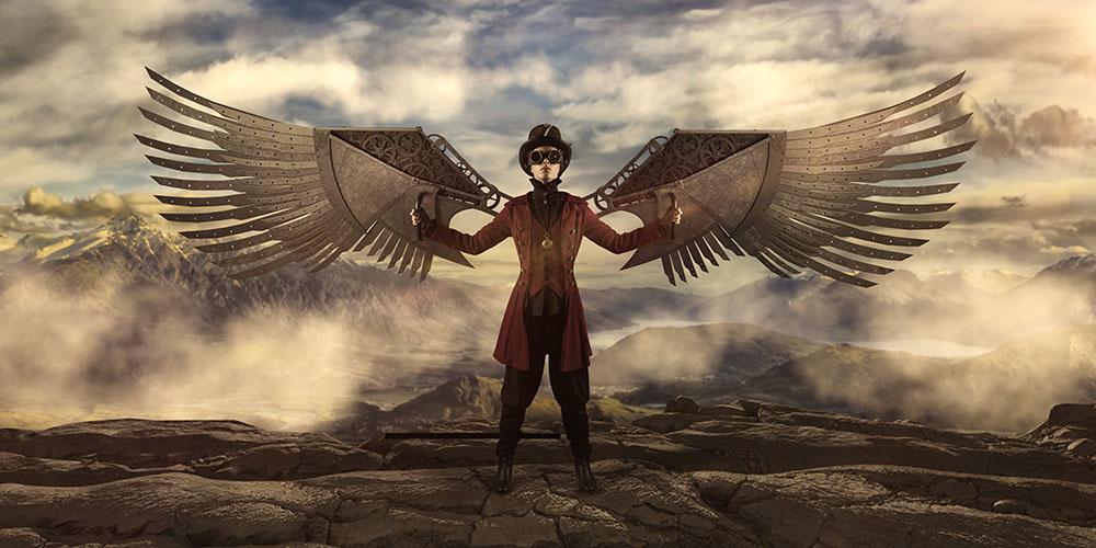 Steampunk wings steel 1