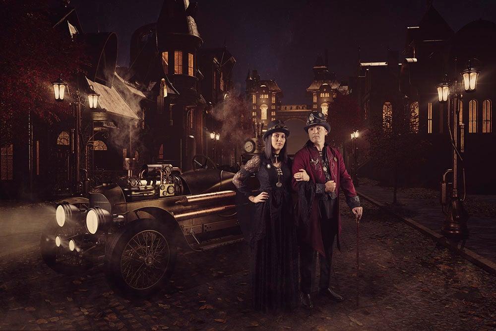 Steampunk Car in Street 01